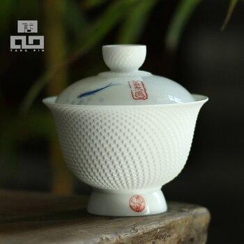 TANGPIN teaware sets ceramic teapot kettle handpainted gaiwan fish teacup porcelain chinese kung fu tea set tangpin coffee and tea tool alloy tea strainers handmade metal kung fu tea accessories sets