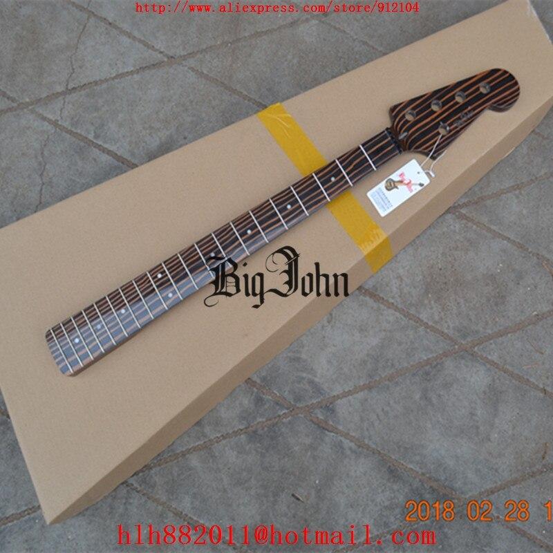 Livraison gratuite nouveau Big John 5 cordes guitare basse électrique zèbre bois cou sans matériel F-3415