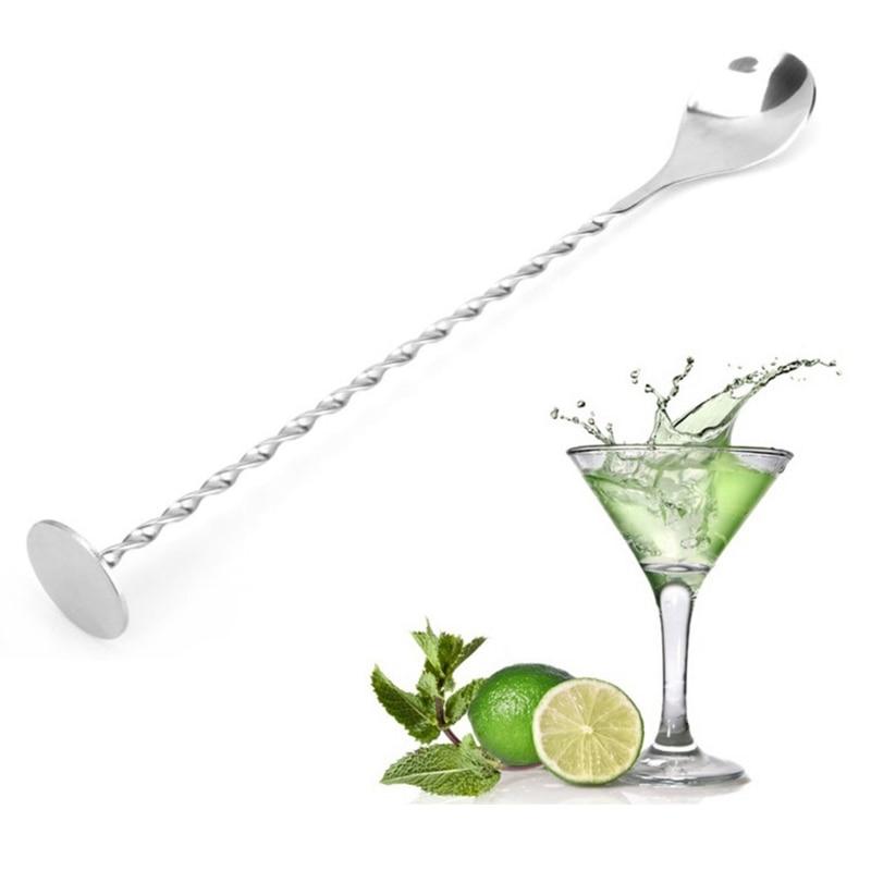 Home Stainless Steel Threaded Bar Spoon Swizzle Stick Coffee Cocktail Picks Wine Spoons Barware Bartender Bar Tools