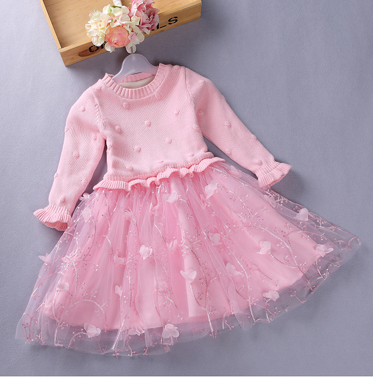 ФОТО 3-10Y Girls Christmas Dress Girl Clothes Pink Patchwork Pattern Cotton O-neck Girl Dress Sweater Children Clothing AD-1642