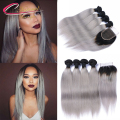 Silky Straight Ombre Grey Hair With Lace Closure Brazilian Virgin Hair Ombre Gray 4 Bundles With Closure T 1b Grey Hair Bundles