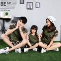 2017 summer father mother and daughter comouflage green t shirt shorts set 2pcs baby child mom dad family matching outfit FE210