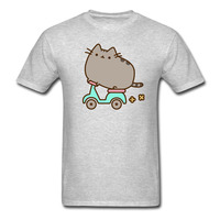 Pusheen Cat Scooter T Shirts Men S Funny Cotton Tees Big SizeS XXXL