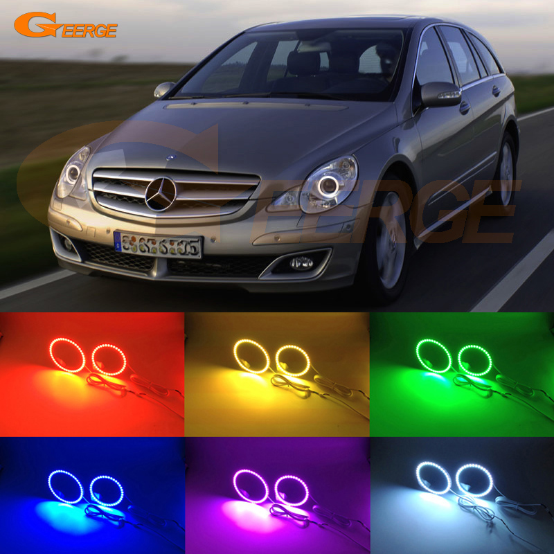For Mercedes Benz R320 R350 R500 R63 2006 2007 2008 2009 10 headlight Excellent Multi-Color Ultra bright RGB LED Angel Eyes kit 2x led daytime running light with fog lamp cover for mercedes benz ml350 w164 2006 2007 2008 2009 automotive accessories