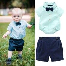 Perimedes bebé recién nacido niños ropa de verano ropa de bebé niño  Caballero trajes mameluco manga corta Camiseta + Pantalones . 3be2c6e2c9f