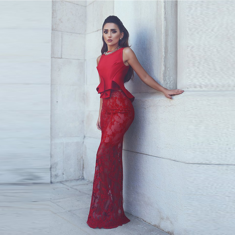 Saudi Arabic Red Lace Mermaid Evening font b Dresses b font Peplum Sheer Long font b