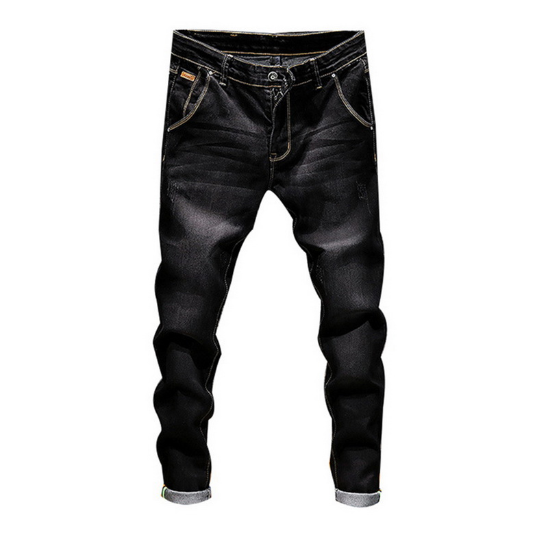 Laamei Stretch Denim Pants Solid   Jean   Men Casual Biker   Jean   Male Streetwear Hip Hop Vintage Trouser Skinny Pencil Pant wholesale