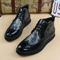 Nuevo 2017 plataforma hombres brogues oxfords punta estrecha de cuero genuino botas de montar zapatos de boda para hombres botines tamaño 38-43