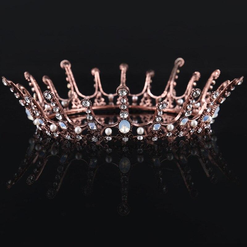 European Style Rhinestone Queen Baroque Round Tiara Crowns