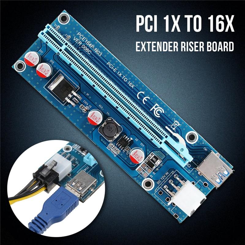 PCIe 1X 4x 8x 16x Extender Riser USB 3.0 PCIE Riser Card Express Carte Adaptateur SATA IDE broches Mâle à 6pin Câble D'alimentation pour l'exploitation minière