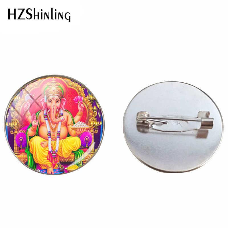 Baru Kedatangan Tuhan Ganesha Hindu Gajah Seni Kaca Cabochon Bros Suci Genash Allah Perak Bros Wanita Pria Perhiasan Hadiah