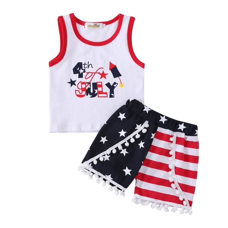 Dia da independência Crianças Panos Camisetas Sem Mangas Whit Listradas Shorts 2 Peça Definir Menina Quarto De Julho de T-shirt Do Bebê Roupas de Menina