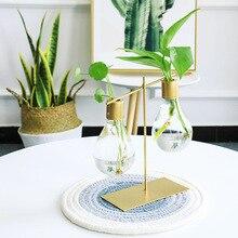 Стеклянная ваза в форме лампочки, контейнер для гидропонных растений, кованые цветочные горшки