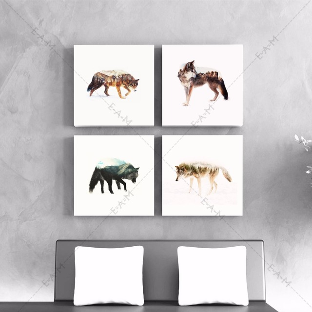 loup montagnes silhouette toile art print affiche de peinture mur photos pour salon d coratifs. Black Bedroom Furniture Sets. Home Design Ideas