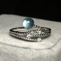 925 Sterling Silver Branch Women Ring Creative Design Adjustable Labradorite Flash Stone Charm Female Rings Wedding Jewelry Gift