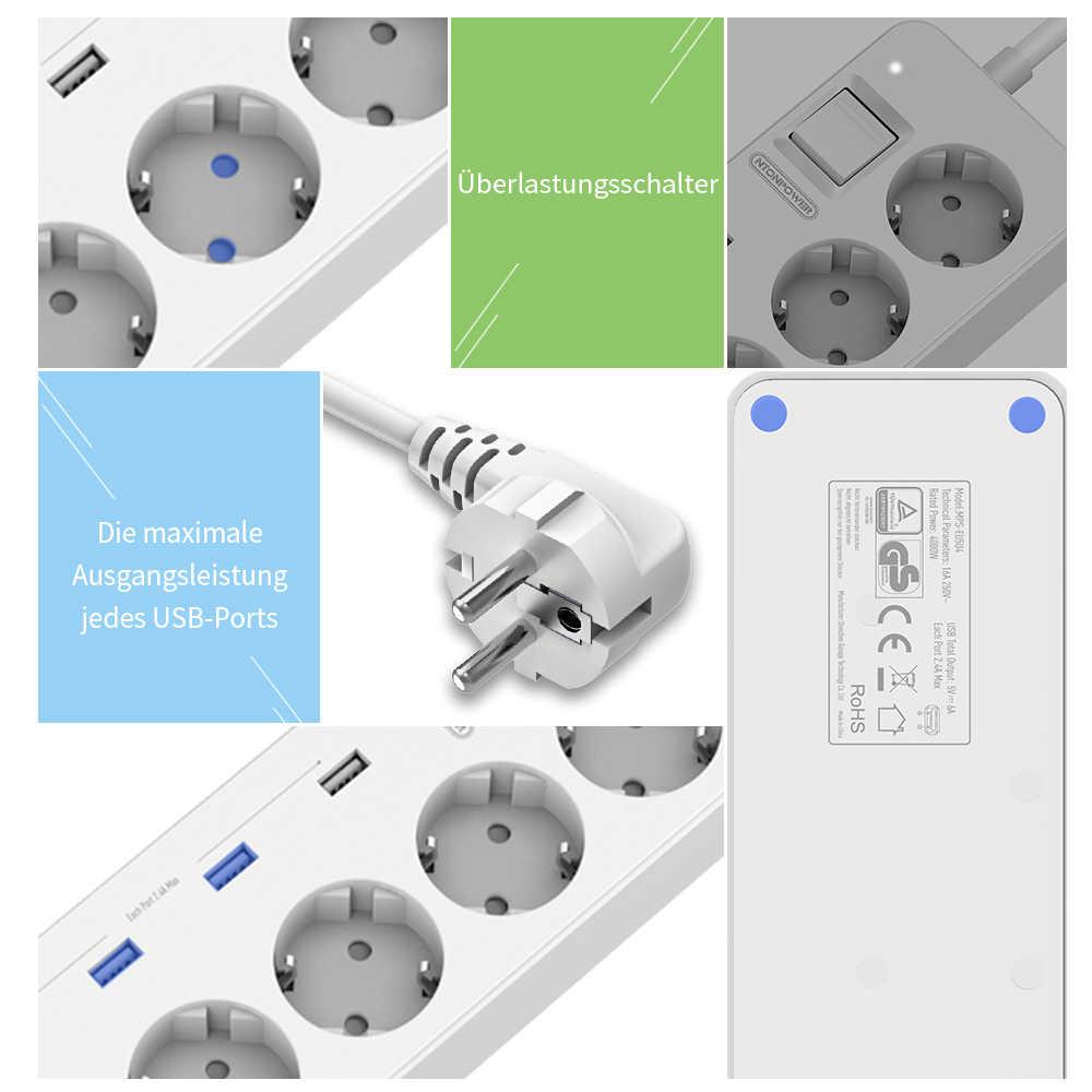 NTONPOWER parasurtenseur prise ue prise d'extension 5 Ports 4 USB multiprise pour bureau à domicile chargeur intelligent pour tablettes de téléphone