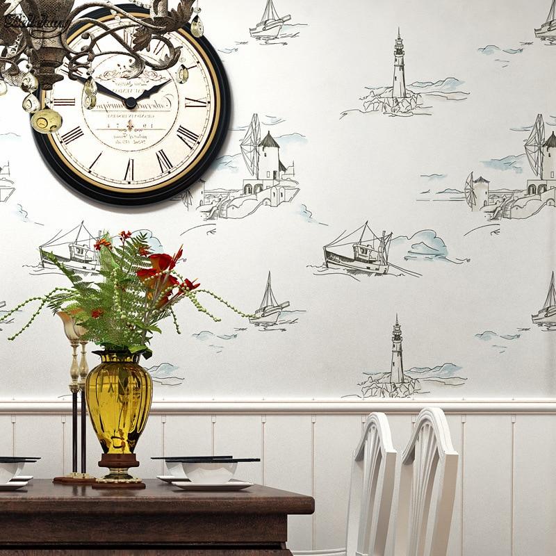 beibehang Mediterranean sailing lighthouse sailing non - woven wall children 's room  bedroom restaurant background wallpaper