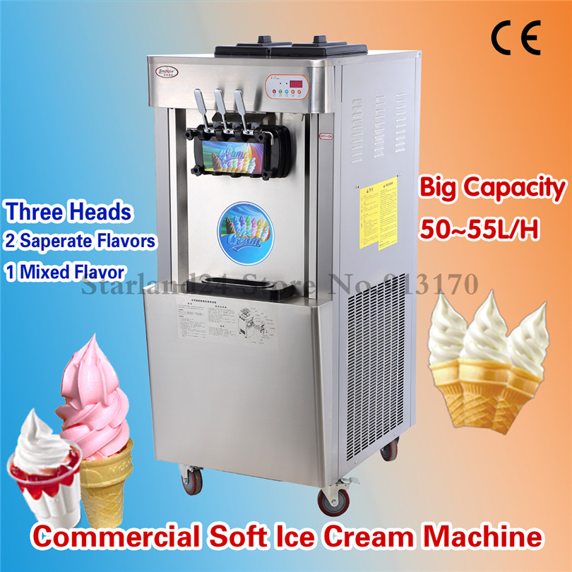 Floor-standing Soft ice cream machine Three Heads Stainless Steel Digital Control Commercial Ice Cream Maker Yield 52~55L/H p6 fullcolor rental advertisingwifi led display floor standing digital signage
