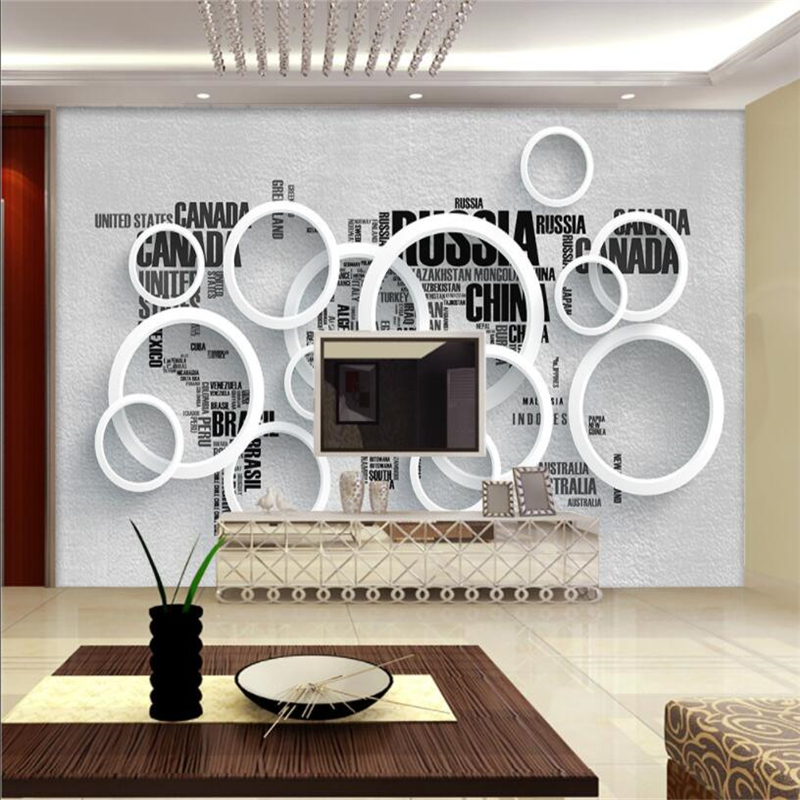 Beibehang Custom 3D Wallpaper Modern Simple English Letter World Map Circle Background Wall In Wallpapers From Home Improvement On
