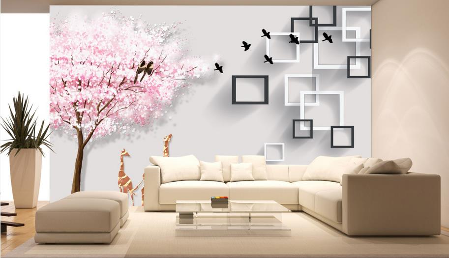 Custom 3D Photo Wallpaper modern-style Minimalist Bedroom Living Room TV Backdrop Painting Cherry tree deer Mural Wallpaper custom green forest trees natural landscape mural for living room bedroom tv backdrop of modern 3d vinyl wallpaper murals
