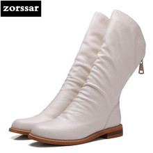 {Zorssar} Genuine Leather flat mid-calf boots women riding boots winter womens shoes Soft leather boots flats botas mujer