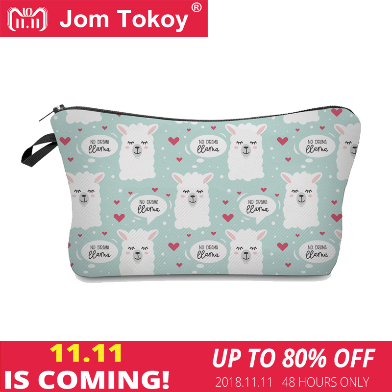 Jom Tokoy 2018 Cosmetic Organizer Bag Make Up Printing Llama Cosmetic Bag Fashion Women Brand Makeup Bag Hzb922 unicorn 3d printing fashion makeup bag maleta de maquiagem cosmetic bag necessaire bags organizer party neceser maquillaje