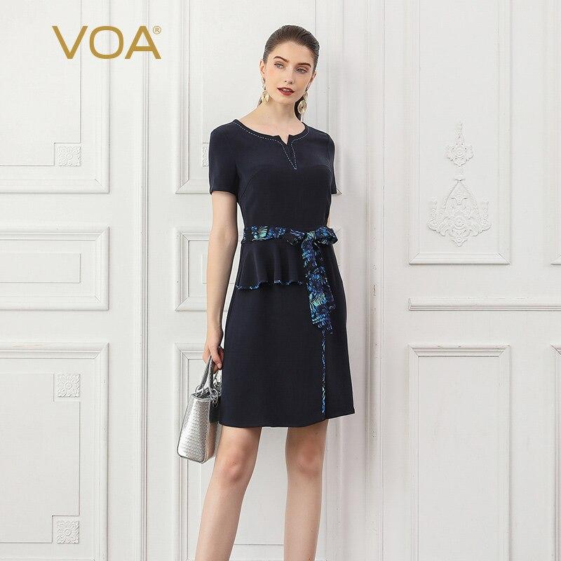 VOA Heavy Silk A Line Dresses Office Work Women Midi Dress Navy Blue Summer Short Sleeve Belt Bow Ruffles Slim Clothes A787