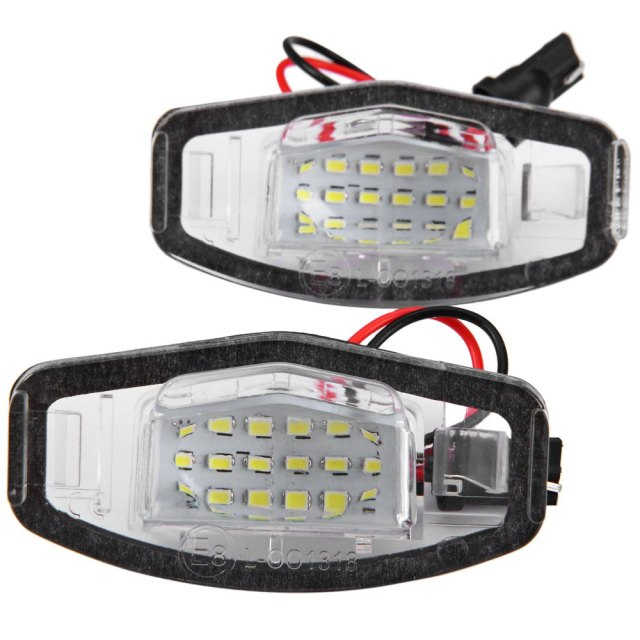 2pcs Vehicle External Lights Auto Car License Plate Lamp Suitable for Honda Accord 4D Civic Odyssey City 4D with 12V 18 LEDs