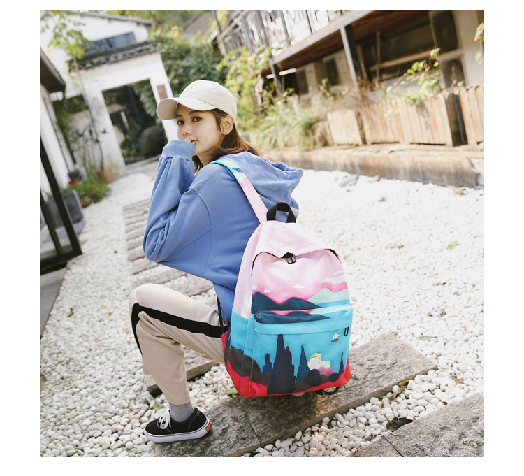 Menghuo Fresh Canvas Backpack Women Landscape School Bags for Teenagers Girls New Backpack Travel Bag Rucksack Mochilas Knapsack_31