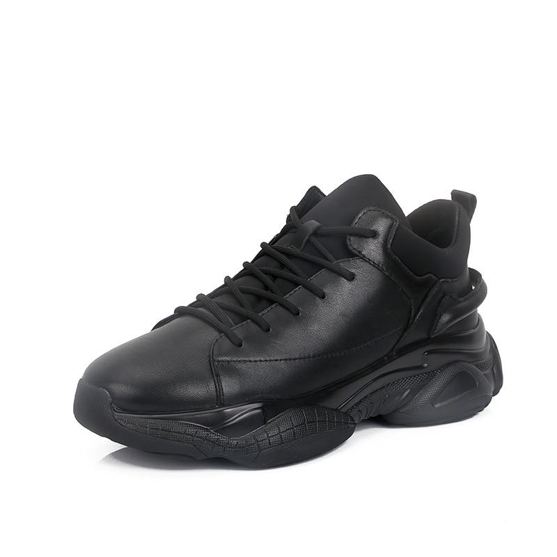 6a68d4b456 Loafer Casuais Sapatos Masculinos Dos black Lazer Genuínos Homem Inverno  Grife Tênis Outono Calçados Preto Homens De ...
