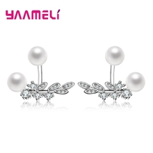 Купить с кэшбэком YAAMELI Sweet OL Pearl Stud Earring 925 Sterling Silver with 5A Grade Cubic Zircon Ear Brincos Wedding Party Accessories Gift