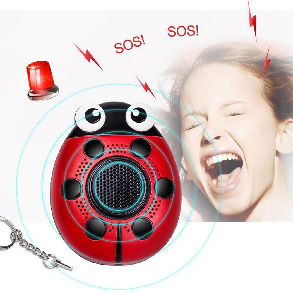 Alarm Keychain 130db Self Defense Led Flash Security Sos Emergency Ladybug Siren New