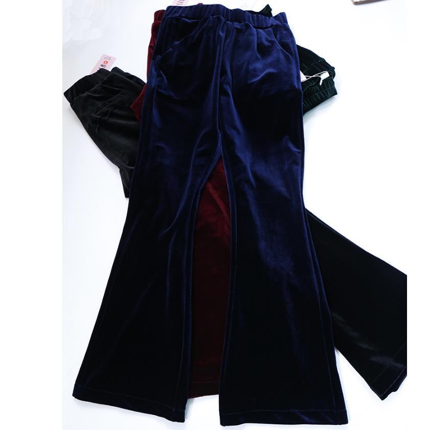 new Elastic waist velvet flares   pants   women high waist   wide     leg     pants   casual   pants