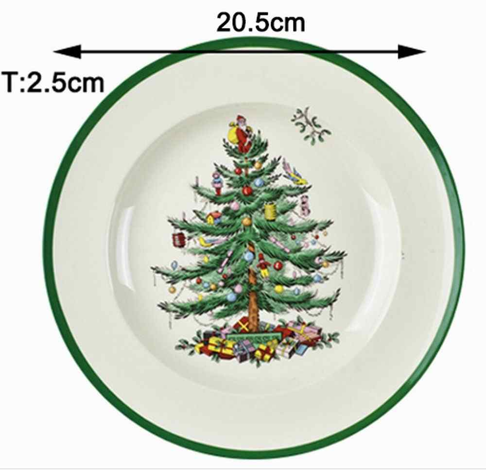 Set Of 4 European Christmas Tree Plate Dinner Plate Porcelain