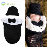 2PCS Gentleman Model Baby Cap Newborn Baby Photography Props Cotton Knitted Boys Girls Cap Baby Boys