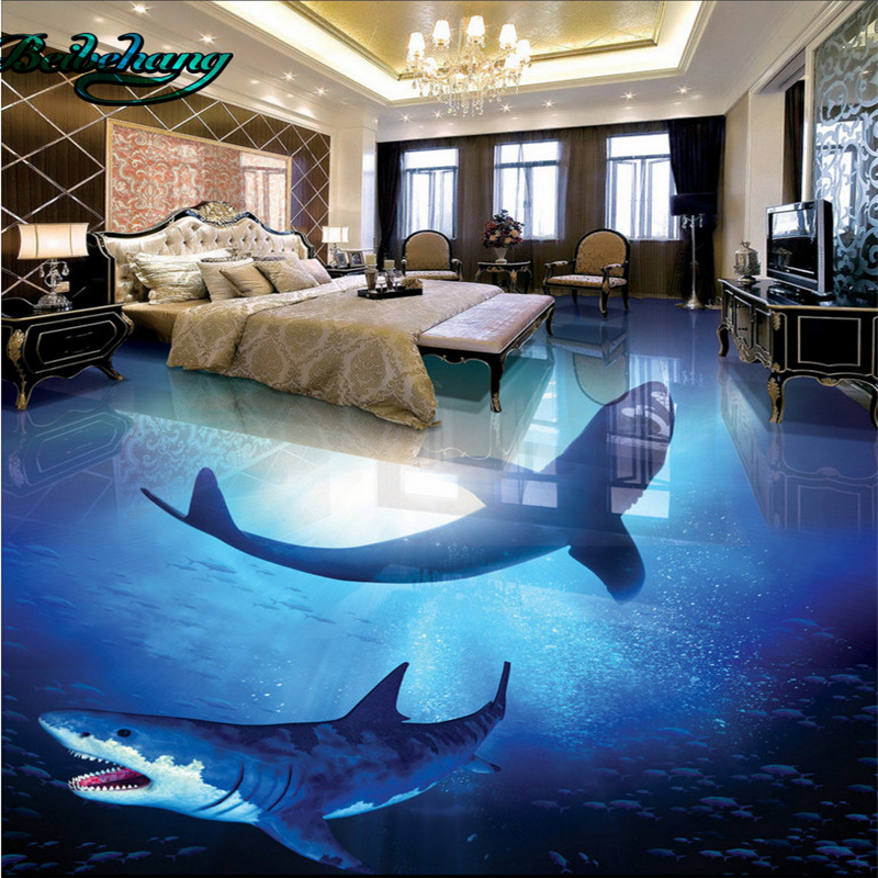 Aliexpress Buy Beibehang Deep Sea Shark Underwater World 3D Stereo Bathroom Living Room Floor Tile Large Custom Wallpaper Mural Decor From Reliable