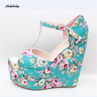 LLXF 15cm High Heeled Sandals 2017 Platform Shoes Woman Stiletto Female T Strap Printed Pumps Small