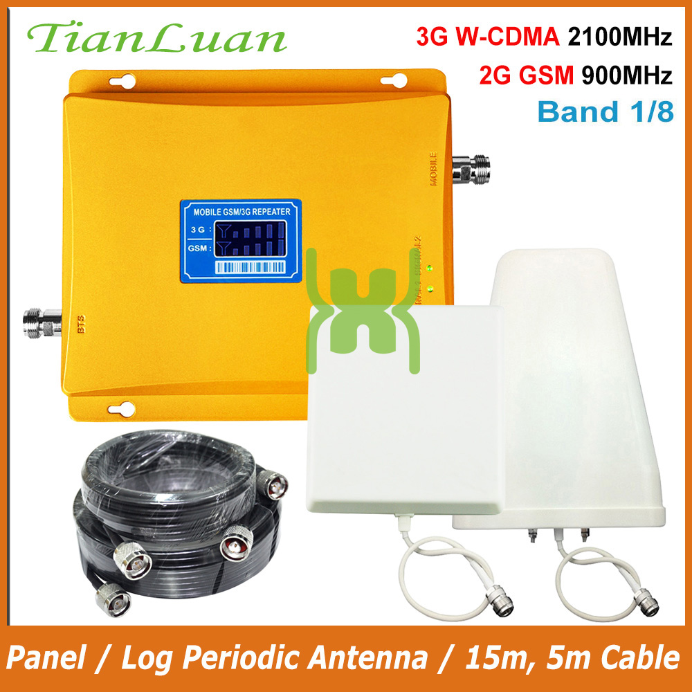 TianLuan 2G 3G Repeater Band 1, 8 Mobile Phone Signal Booster GSM 900MHz 2100MHz W-CDMA UMTS With Panel / Log Periodic Antenna