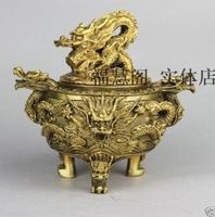 Excellent Chinese Brass Dragon Statue Incense Burner / Censer