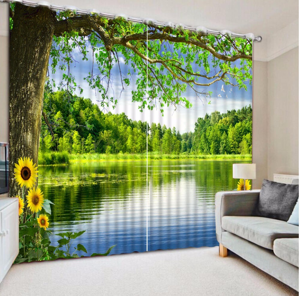 Green Nature Scenery Curtains For Bedroom Lake Sheer