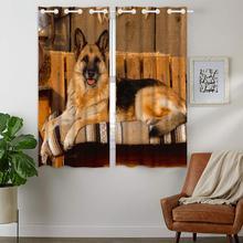 Blackout Curtains Darkening 2 Panels Grommet Window Curtain for Bedroom Cute German Shepherd Brown Animal Dog