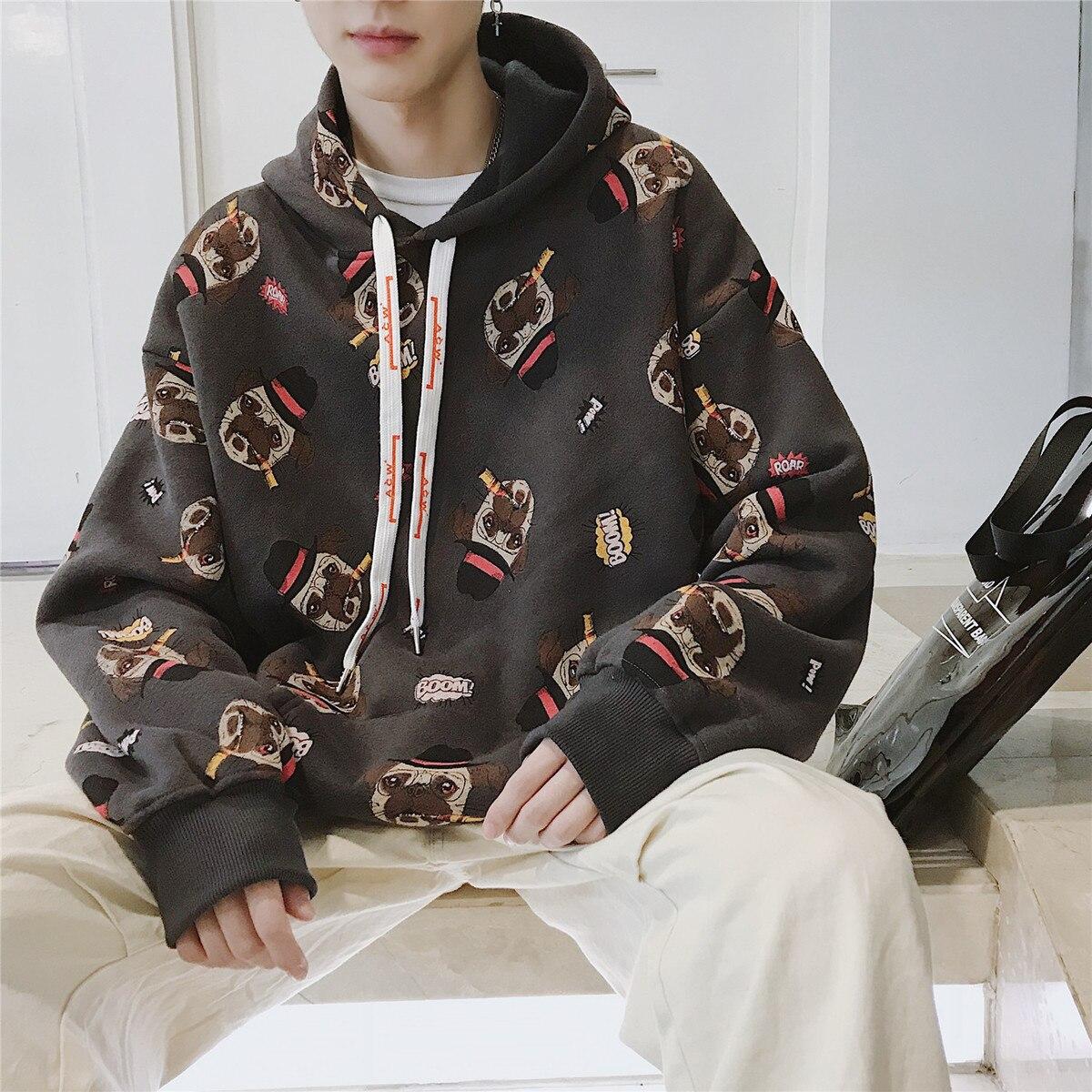 2018 hommes marque de mode vêtements pull dessin animé impression mâle sweat à capuche coton pulls décontractés blanc/gris manteaux M-XL - 5