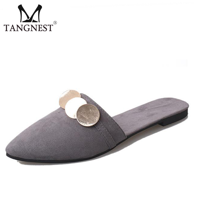 Tangnest NEW 2017 Summer Sequined Flats Bling Pointed Toe Slingbacks Flat Shoes Suede Leather Slippers Woman Slides Shoes XWT643 gold sliver shoes woman for 2016 new spring glitter bling pointed toe flats women shoes for summer size plus 35 40 xwd1841