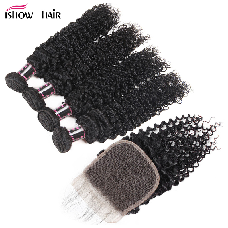 Ishow Hair Indian Curly Lace Closure 100% Human Hair 4 Bundles With Closure 4*4 Free Part Natural Color Non Remy Hair Weaves