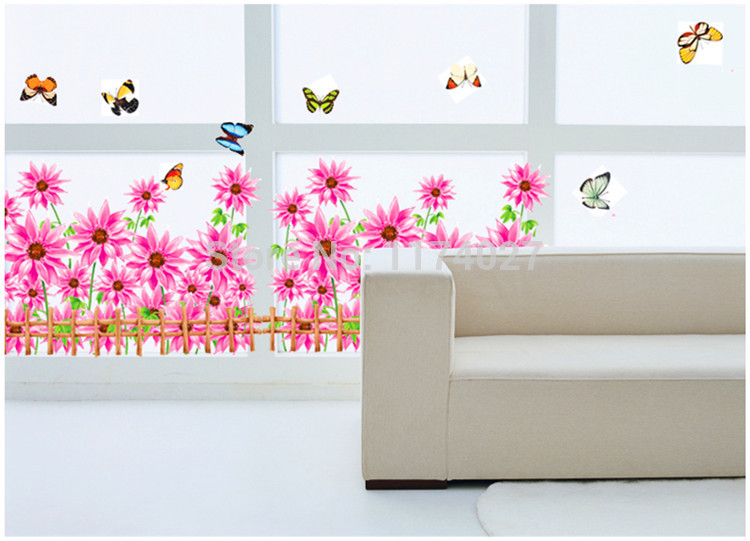Sunflower wall sticker Hallway stairs corridor skirting line flower decals home decoration Free shipping