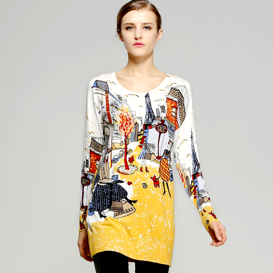 Autumn Trendy Sweater Slim Paris Print Long Pullover Dress 2016 Women Wool O-Neck Long Sleeve Knitted Sweater Casual Pull Femme wolf chain print long sleeve sweater
