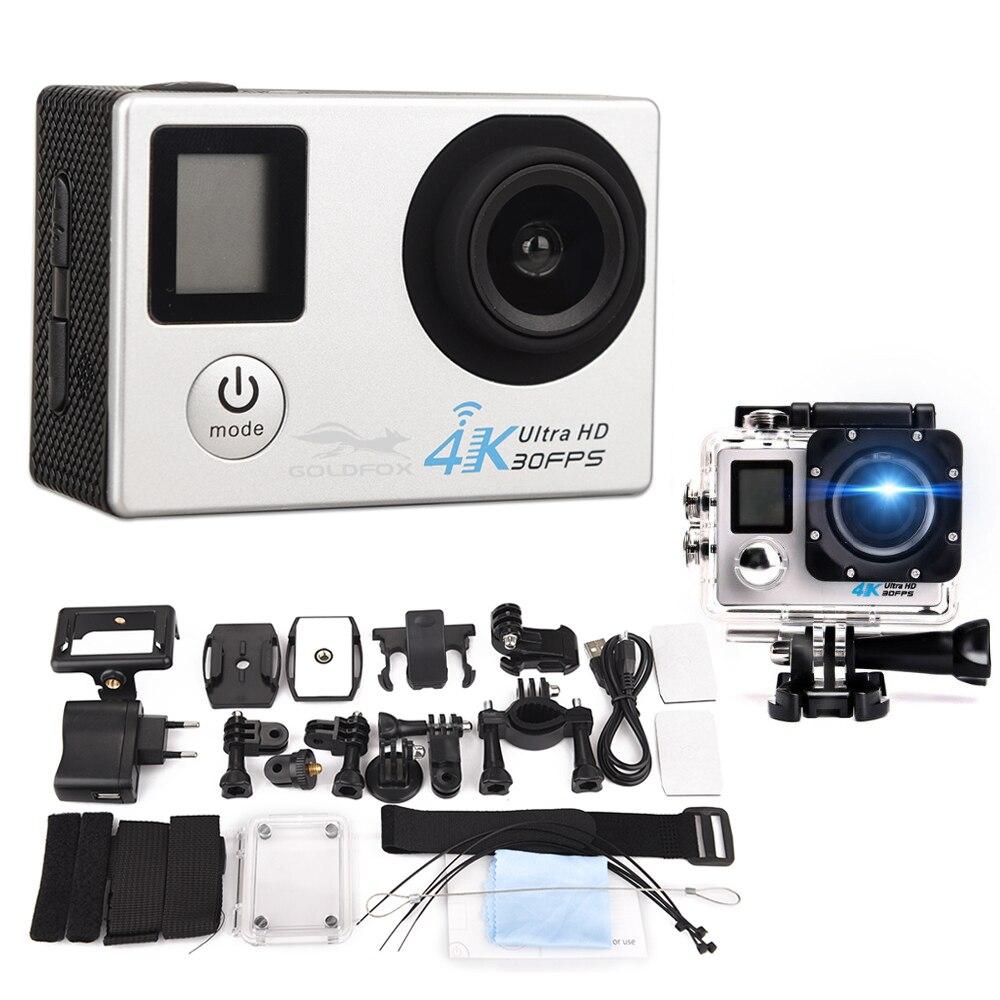 GOLDFOX 1080 p Ultra-HD 4 k d'action Caméra wifi Caméscopes 16MP 170D aller cam 4 k Sport Caméra pro cam Avec boîtier étanche + contrôle
