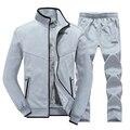 Tamaño M-3XL 2016 forro de algodón de invierno hombres chaqueta gris, hombres conjunto coat + pants hoodies camiseta ocasional, azul marino, negro
