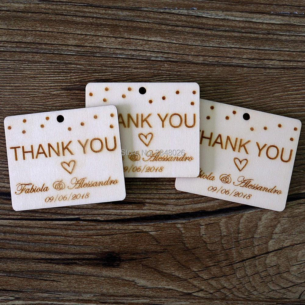 16d49e9d66e9 US $8.69 13% OFF Custom Wood Tags with name,Thanks you rustic wedding favor  tags, personalized Gift tag,wood Hang Tags-in Party Favors from Home & ...