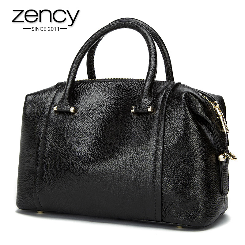 Zency NEW Vintage Women's Shoulder Bags Genuine Leather Women Tote Hand Bag Lady Shoulder Bag Purse Ladies Messenger Bags ZC0122 zency new women genuine leather shoulder bag female long strap crossbody messenger tote bags handbags ladies satchel for girls